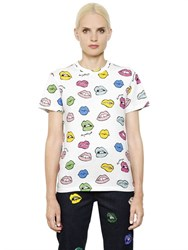 Au Jour Le Jour Multicolor Lip Printed Cotton T Shirt