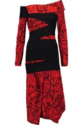Proenza Schouler Off The Shoulder Flocked And Printed Crepe Midi Dress Red