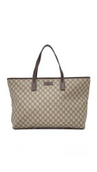 Wgaca Gucci Canvas Tote Previously Owned Brown