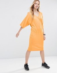 Asos Midi T Shirt Dress With Kimono Sleeve Ochre