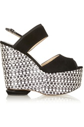Nicholas Kirkwood Suede And Elaphe Wedge Sandals