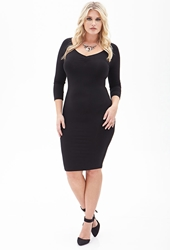 Forever 21 Ruched Pencil Dress Black