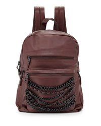 Ash Domino Chain Large Leather Backpack Dark Wine