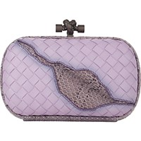 Bottega Veneta Women's Snakeskin Inset Intrecciato Knot Clutch Light Purple