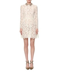 Valentino Long Sleeve Heavy Lace Dress W Collar Ivory