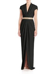 Badgley Mischka Draped Front V Neck Gown Black