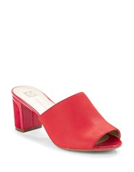 Anne Klein Carena Open Toe Leather Mules Red