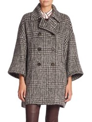 Brunello Cucinelli Wool And Alpaca Houndstooth Coat Onyx