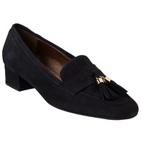 John Lewis Anna Tassel Block Heeled Loafers Navy