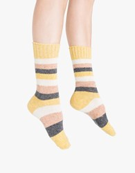 Cydni Silk Blend Stripe Crew Sock Yellow