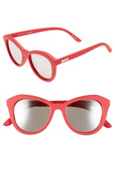 Le Specs 'Peach Pit' 52Mm Cat Eye Sunglasses Red Hot Rubber Silver Mirror