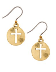 Lucky Brand Cross Charm Drop Earrings Gold