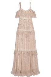 Needle And Thread Supernova Tiered Off The Shoulder Embellished Tulle Gown Pastel Pink