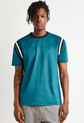 Forever 21 Varsity Striped Mesh Jersey Teal Black