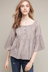 Anthropologie Pleated Bell Sleeve Henley Blue