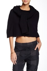 Band Of Outsiders Merino Wool Self Tie Sleeve Hoodie Cape Black