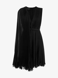 Giambattista Valli Pleated One Shoulder Cape Silk Dress Black
