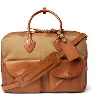 Rrl Cargo Distressed Leather And Canvas Holdall Tan