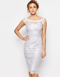 Paper Dolls Sweetheart Pencil Dress With Lace Overlay Lilacwhite
