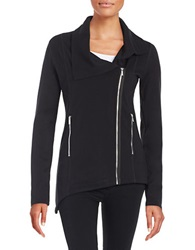 Kensie Asymmetrical Zip Sweatshirt Black