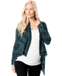 Wendy Bellissimo Maternity Printed Open Front Cardigan Black W Blue Print