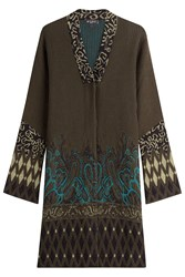 Etro Wool Alpaca Intarsia Knit Jacket Green