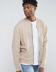 Asos Oversized Jersey Bomber Jacket With Woven Panels And Zip Pockets Blonde Beige