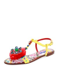 Dolce And Gabbana Jeweled Pompom T Strap Sandal Yellow Multi