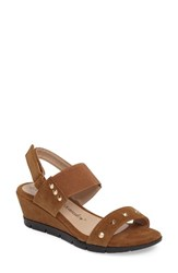 Athena Alexander Women's Pennye Studded Wedge Sandal Taupe Faux Suede
