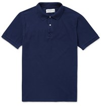 Officine Generale Cotton Pique Polo Shirt Blue