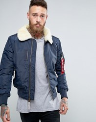 Alpha Industries Bomber Jacket With Sheep Fur Collar In Slim Fit Navy Ny1 Navy 1