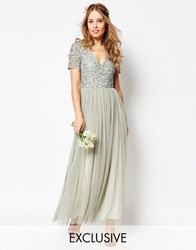 Maya V Neck Maxi Tulle Dress With Tonal Delicate Sequins Sage Green