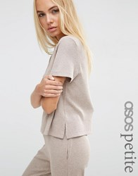 Asos Petite Ribbed Tunic T Shirt With Side Splits Mink Marl Beige