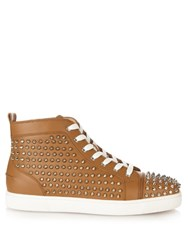 Christian Louboutin Louis Spiked Leather High Top Trainers Tan