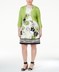 Jessica Howard Plus Size Bolero Shrug And Printed Shift Dress Green