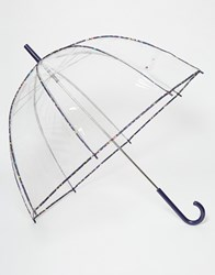 Totes Pvc Dome Umbrella With Multi Ditsy Floral Print Binding Clear