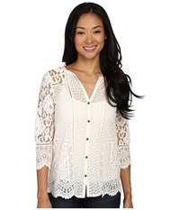 Lucky Brand Lace Mix Top Birch Women's Clothing Brown