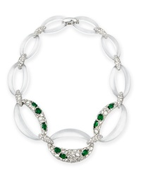 Alexis Bittar Half Encrusted Lucite Link Necklace Clear