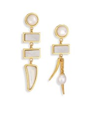 Lizzie Fortunato Primitive White Fresh Water Pearl Dolomite And Mother Of Pearl Drop Earrings Gold Pearl