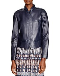 Tory Burch Leather Moto Jacket Med Navy