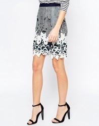 Greylin Aster Lace Pencil Skirt Navy