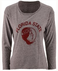 Retro Brand Women's Florida State Seminoles Glitter Arch Long Sleeve T Shirt Heather Gray