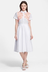 Tanya Taylor 'Mia' Embroidered Stretch Cotton Shirtdress White
