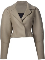 Tome Cropped Tailored Jacket Brown