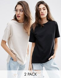 Asos Linen Look Oversized T Shirt 2 Pack Save 10 Black Grey White