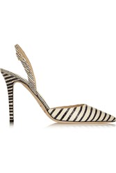 Jimmy Choo Tarida Striped Elaphe Pumps White