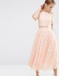 Asos Lace Crop Top Midi Prom Nude Pink