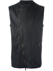 Tom Rebl Sleeveless Biker Jacket Black