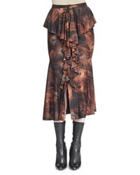 Givenchy Vintage Peacock Print Cascading Ruffle Skirt Multi Colors