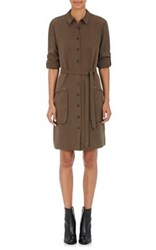 Atm Anthony Thomas Melillo Women's Silky Twill Belted Shirtdress Green